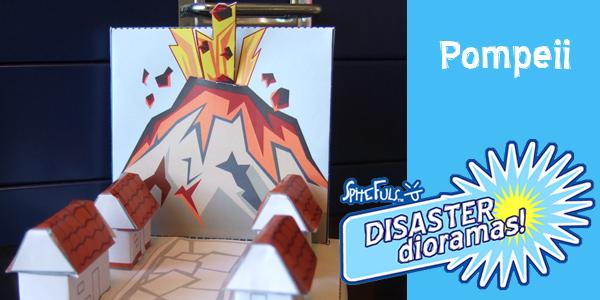 Papercraft imprimible y recortable del diorama del volcán Vesubio en Pompeya. Manualidades a Raudales.